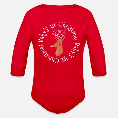 Christmas Reindeer Babys First Christmas - Organic Long-Sleeved Baby Bodysuit