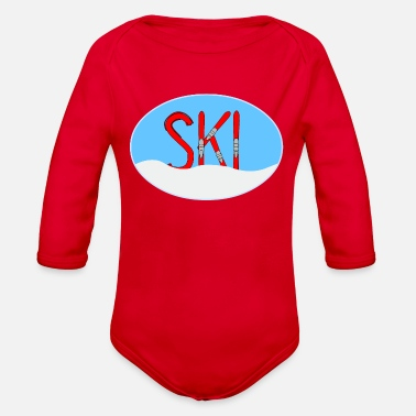 Snow Ski Red Skis Snow In Oval - Organic Long-Sleeved Baby Bodysuit