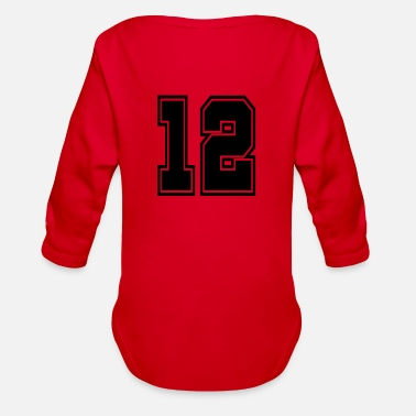 Jersey Number 12 shirt number college style football soccer - Organic Long-Sleeved Baby Bodysuit