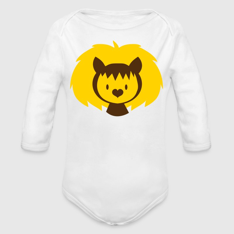 little lion boy so cute ! with a love heart nose - Long Sleeve Baby Bodysuit