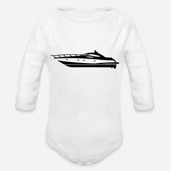 Motor Baby Clothing - motor yacht - Organic Long-Sleeved Baby Bodysuit white