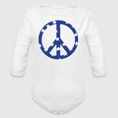 peace sign - Organic Long Sleeve Baby Bodysuit