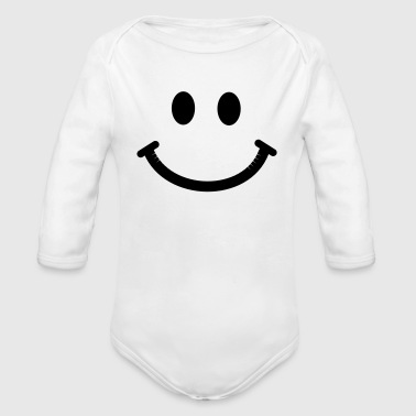 Happy Smiley Face - Organic Long Sleeve Baby Bodysuit