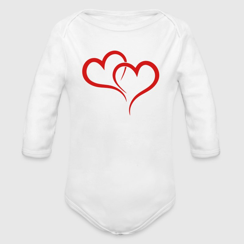TWO HEARTS - Long Sleeve Baby Bodysuit
