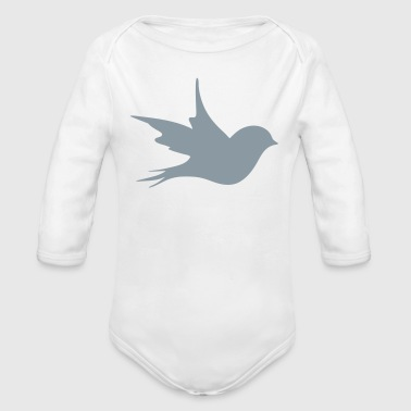 a little bird as a silhouette  - Organic Long Sleeve Baby Bodysuit