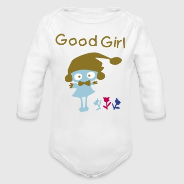 little_girl vector graphic art - Organic Long Sleeve Baby Bodysuit