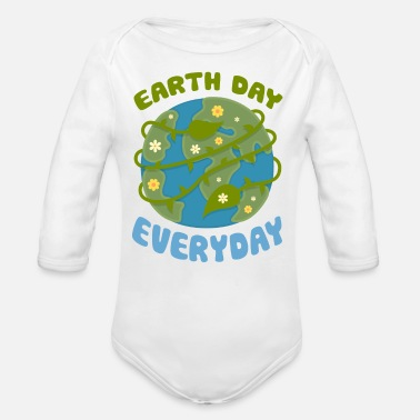 Earth Day Earth Day Every Day - Organic Long Sleeve Baby Bodysuit