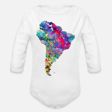 South America South America map - Organic Long Sleeve Baby Bodysuit