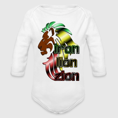 Iron Metal Reggae music, rastafari, Iron, lion, zion metal - Organic Long Sleeve Baby Bodysuit