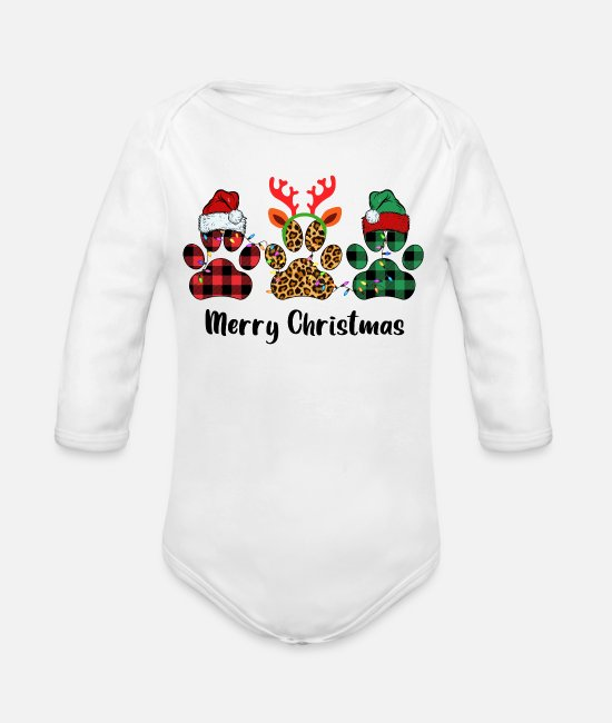 Bed Baby One Pieces - Merry Christmas Paw - Organic Long-Sleeved Baby Bodysuit white