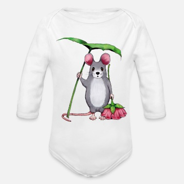 Art Cute Mouse, Pink Flower - Organic Long-Sleeved Baby Bodysuit