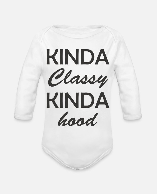 Movie Baby One Pieces - Kinda Classy Kinda Hood 7 - Organic Long-Sleeved Baby Bodysuit white