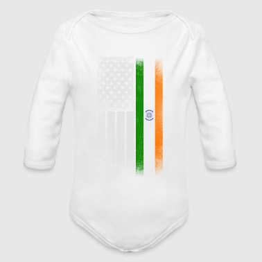 Indian American Flag - Organic Long Sleeve Baby Bodysuit