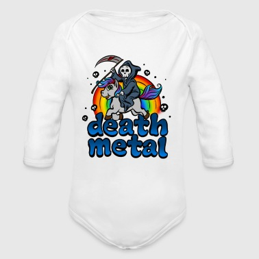 Death Metal Pony Rainbow T-Shirt - Heavy Metal Tee - Organic Long Sleeve Baby Bodysuit