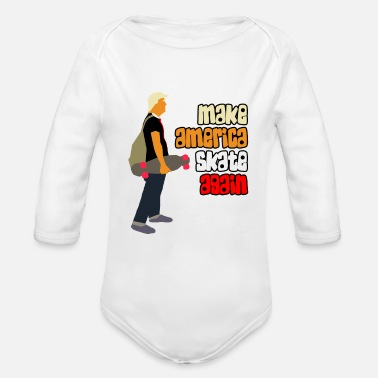 America Make America Skate Again Trump Skater Shirt - Organic Long-Sleeved Baby Bodysuit