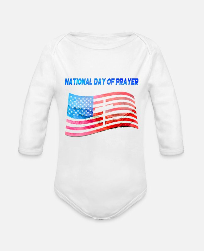 National Team Baby One Pieces - Apparel for National Day Of Prayer National Day Of - Organic Long-Sleeved Baby Bodysuit white