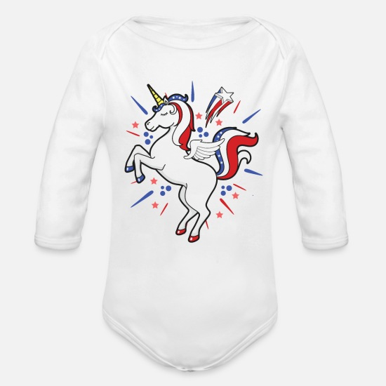 Usa Baby Clothing - Unicorn 4th of July Stars Stripes and Celebration - Organic Long-Sleeved Baby Bodysuit white