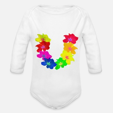 Hawaiian Lei Day Flower Shirt Hula Girl Hawaii hibiscus Pal - Organic Long Sleeve Baby Bodysuit