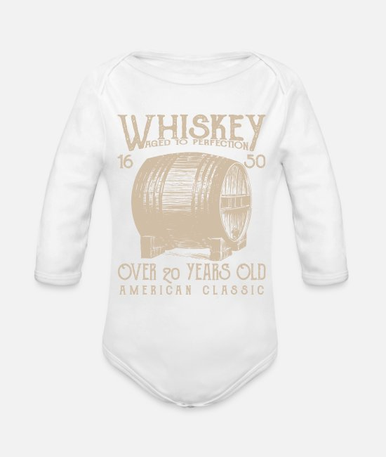 American Baby One Pieces - Whiskey - Organic Long-Sleeved Baby Bodysuit white