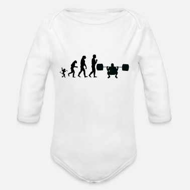 Lifting weight lifting evolution, #weight lifting - Organic Long Sleeve Baby Bodysuit