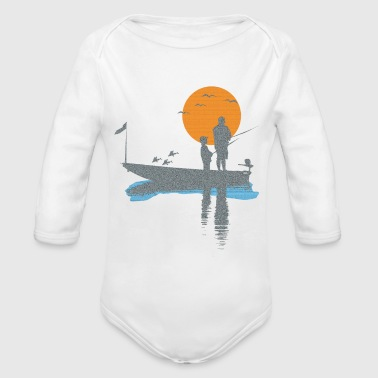 T-shirt fisherman in boat with bird and fish - Organic Long Sleeve Baby Bodysuit