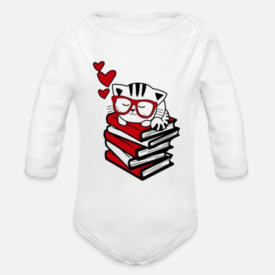Library Baby Clothing - Reading Gift Funny Cat Book Reader Geek Glasses Bo - Organic Long-Sleeved Baby Bodysuit white