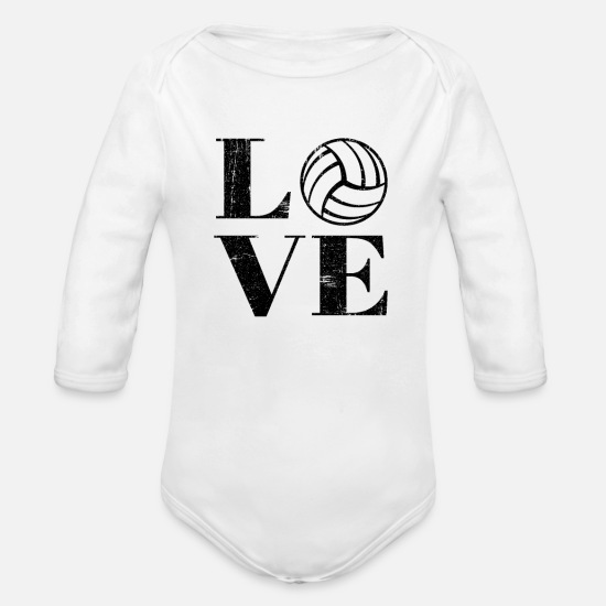 Love Baby Clothing - Beach Volleyball Love Distressed - Organic Long-Sleeved Baby Bodysuit white