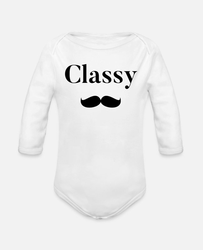 Beard Baby One Pieces - Classy black - Organic Long-Sleeved Baby Bodysuit white
