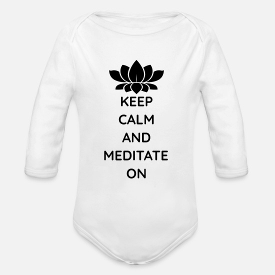 Buddha Baby Clothing - Meditate Buddha Yoga T-Shirt Gift Idea - Organic Long-Sleeved Baby Bodysuit white