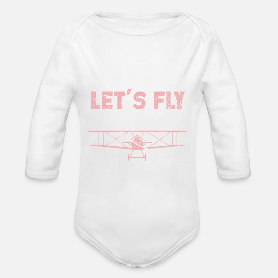 Plane Baby Clothing - Plane Pilot flying clouds Travel - Organic Long-Sleeved Baby Bodysuit white