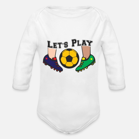 Soccer Baby Clothing - Let`s Play Soccer - Organic Long-Sleeved Baby Bodysuit white