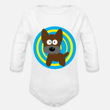 Dog Breed dog in a circle - Organic Long-Sleeved Baby Bodysuit