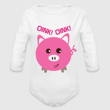 piggy bank oink oink. Piggy bank piggy pig piglets - Organic Long Sleeve Baby Bodysuit