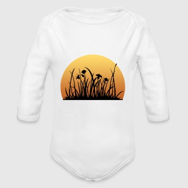 Sunset behind the meadow with the flowers - Organic Long Sleeve Baby Bodysuit