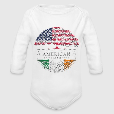 Irish Roots American with Irish Roots Tee - Organic Long Sleeve Baby Bodysuit
