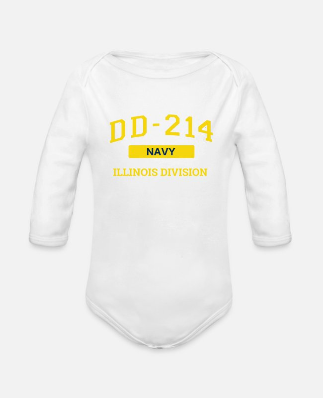 Navy Baby One Pieces - Navy Veteran Shirt DD214 Ilinois T Shirt - Organic Long-Sleeved Baby Bodysuit white