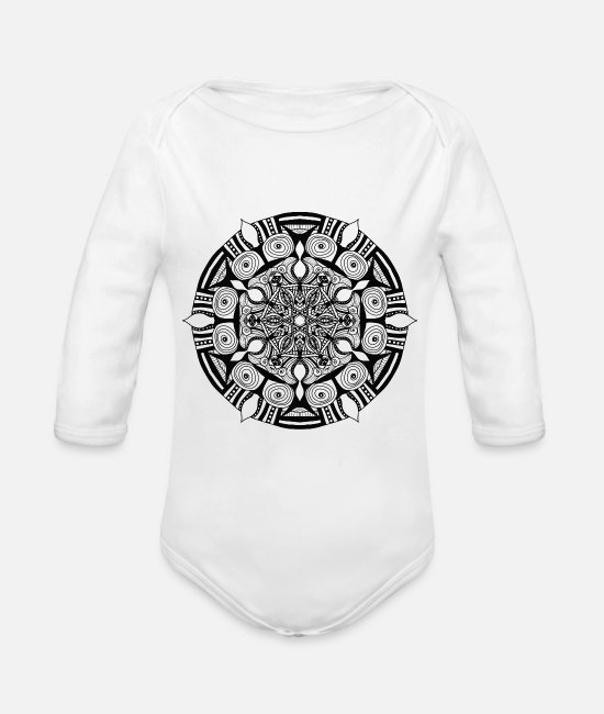 Harmony Baby One Pieces - Mandala - Organic Long-Sleeved Baby Bodysuit white