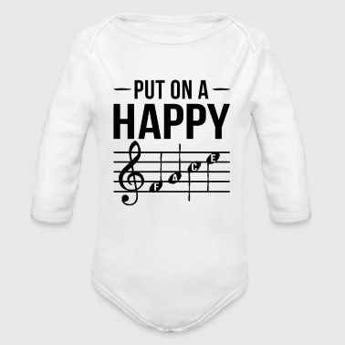 Put on a Happy Face Music - Organic Long Sleeve Baby Bodysuit