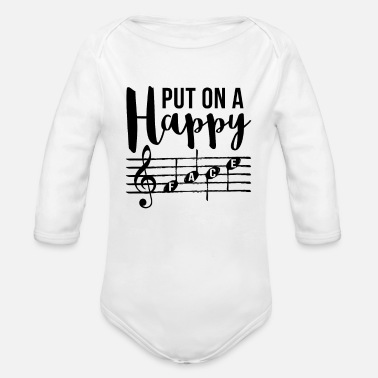 Music Put On A Happy Face - Organic Long Sleeve Baby Bodysuit