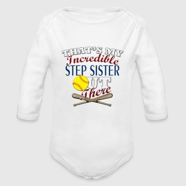 Softball Step Sister or Brother Gift - Organic Long Sleeve Baby Bodysuit