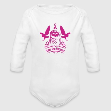 Save The Hooters Breast Cancer Owls - Organic Long Sleeve Baby Bodysuit