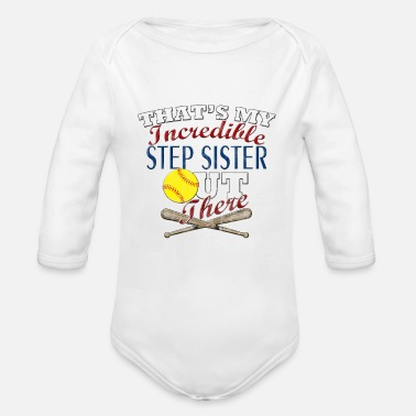 Step Brothers Softball Step Sister or Brother Gift - Organic Long Sleeve Baby Bodysuit