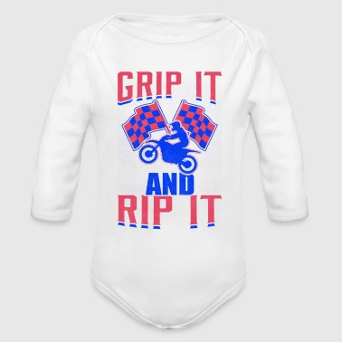 Motocross Dirt Bike Grip It and Rip It - Organic Long Sleeve Baby Bodysuit