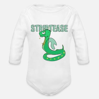 Striptease Striptease undressing Snake skin joking - Organic Long Sleeve Baby Bodysuit