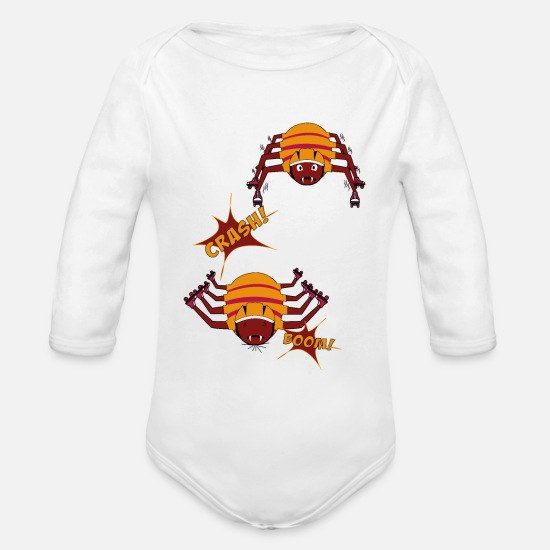 Cobweb Baby Clothing - roller skates - Organic Long-Sleeved Baby Bodysuit white
