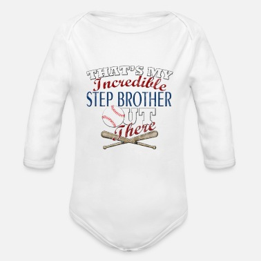 Step Brothers Baseball Step Brother or Sister Gift - Organic Long Sleeve Baby Bodysuit