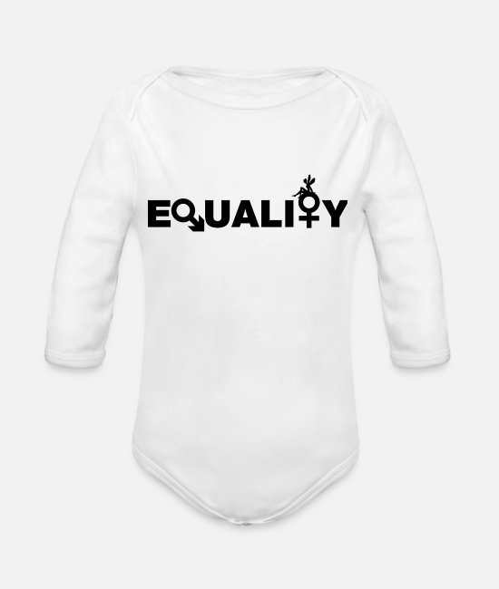 Female Empowerment Baby Clothing - EQUALITY = EQUALITY - Organic Long-Sleeved Baby Bodysuit white