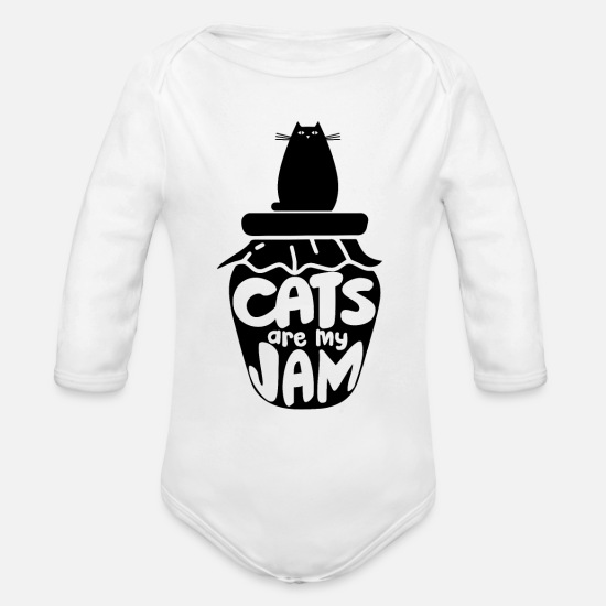 Love Baby Clothing - Cats - Organic Long-Sleeved Baby Bodysuit white