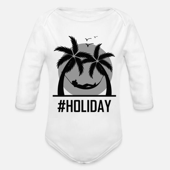 Triple Baby Clothing - Holiday Urlaub palm tree trip nowork tourism - Organic Long-Sleeved Baby Bodysuit white
