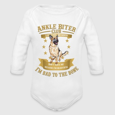 Shepherd German Shepherds are Bad to the Bone - Organic Long Sleeve Baby Bodysuit